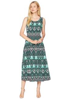 Nine West Stretch Crepe Sleeveless Midi Tier Dress with Smocked Waist