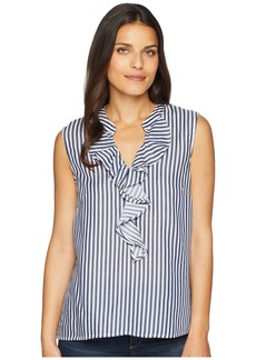 Nine West Striped Blouse with Ruffle Front
