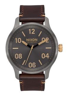 Nixon Men's Patrol Leather Strap Watch, 42mm