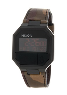 Nixon Men's Re-Run Leather Digital Watch, 38.5mm