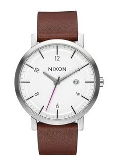 Nixon Men's Rollo Leather Strap Watch, 42mm