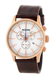 Nixon Men's Sentry Chrono Croc Embossed Leather Strap Watch, 42mm