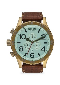 Nixon 51-30 IP Stainless Steel & Leather Chronograph Strap Watch