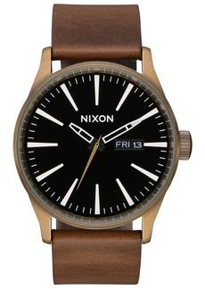 Nixon Men's Sentry Leather/Canvas Strap Watch 42mm
