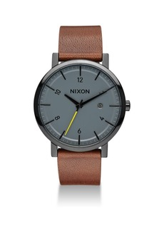 Nixon Rollo Leather Strap Watch