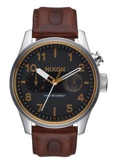 Nixon 'Safari Deluxe' Leather Strap Watch, 43mm