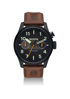 Nixon Safari Deluxe Leather Strap Watch
