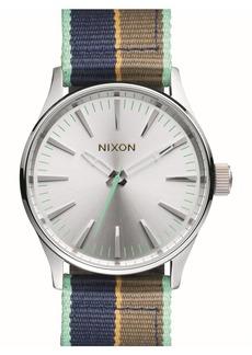 Nixon 'Sentry' Stripe Canvas Strap Watch, 38mm