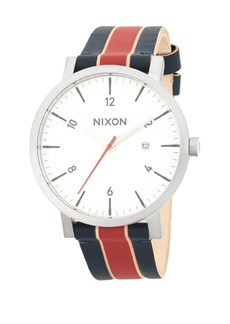 Nixon Stainless Steel Stripe Leather-Strap Watch