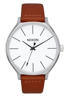 Nixon The Clique Leather Strap Watch, 38mm