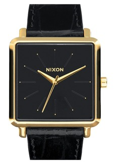 Nixon 'The K Squared' Leather Strap Watch, 32mm x 30mm