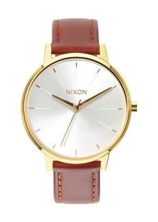 Nixon 'The Kensington' Leather Strap Watch, 37mm