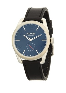 Nixon Stainless Steel Round Leather-Strap Watch