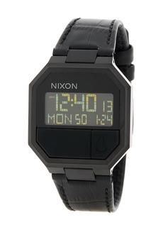 Nixon 'The Re-Run' Digital Leather Strap Watch, 38mm