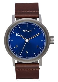 Nixon The Stark Leather Strap Watch, 42mm