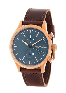Nixon The Station Chronograph Leather Strap Watch, 41mm