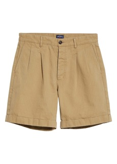 Noah Pleated Herringbone Shorts