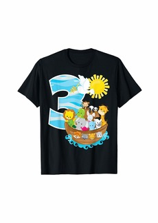 Noah's Ark Birthday Party 3rd Birthday 3 Year Old Toddler T-Shirt