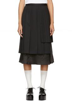 Noir Black Alternating Pleat Skirt