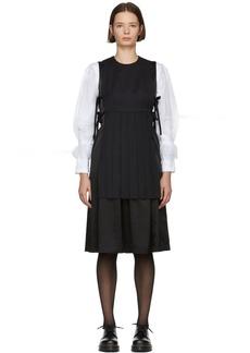 Noir Black Combo Pleated Apron Dress