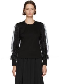 Noir Black Organza Sleeve T-Shirt