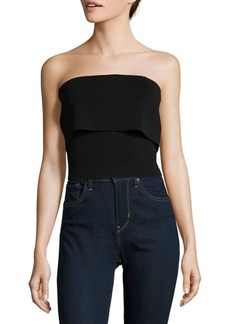 Noir Catira Knit Popover Cropped Top