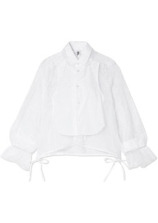 Noir Cotton Poplin-paneled Organza Shirt