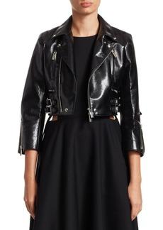 Noir Cropped Faux Leather Moto Jacket
