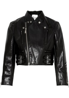 Noir Cropped Faux Patent-leather Biker Jacket