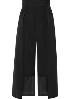 Noir Cropped Satin-twill Wide-leg Pants