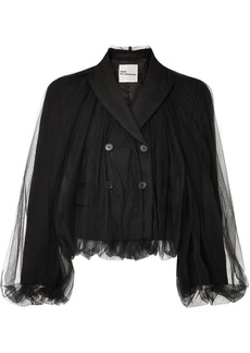 Noir Cropped Wool And Tulle Blazer