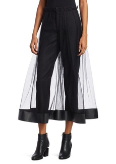 Noir Faux-Leather Trimmed Mesh Culottes