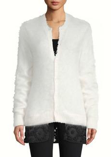 Noir Floral Lace Button-Front Sweater
