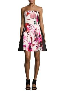 Noir Floral-Print Strapless Dress