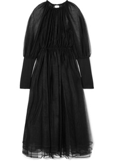 Noir Gathered Tulle And Knitted Midi Dress