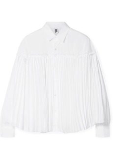 Noir Layered Cotton-poplin And Pleated Taffeta Shirt