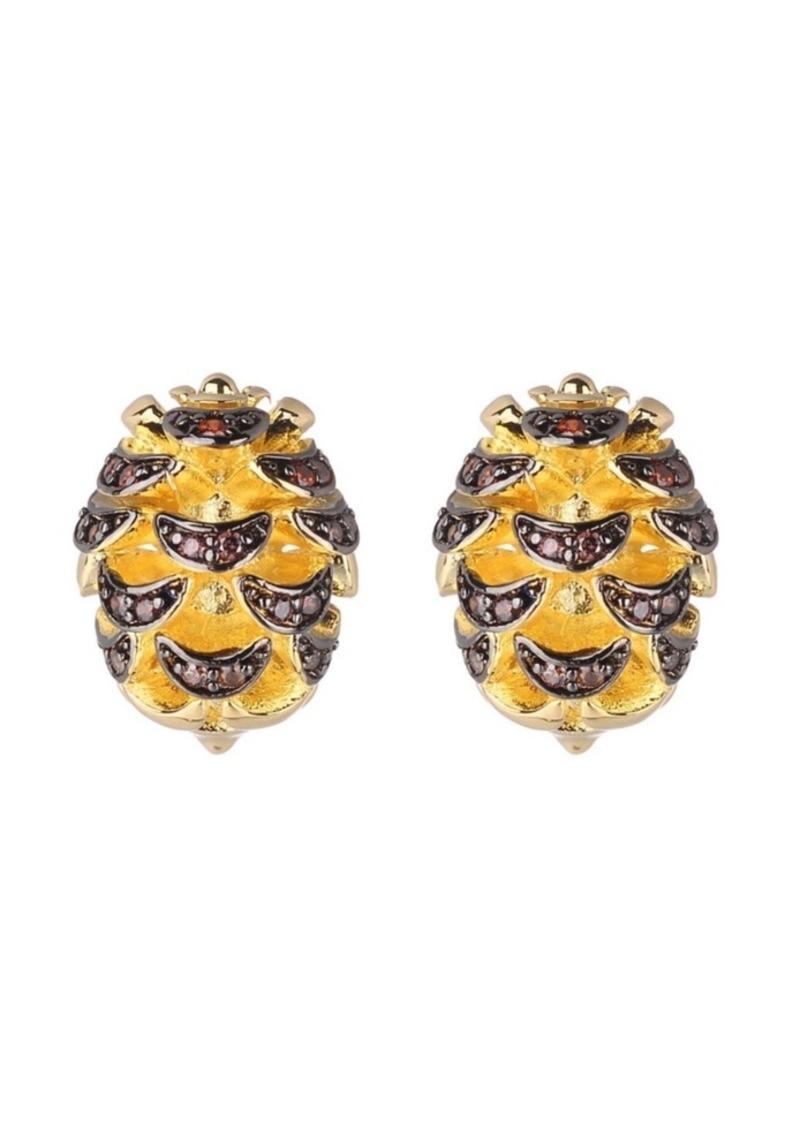 Noir Acorn Stud Earring With Cubic Zirconia Stones