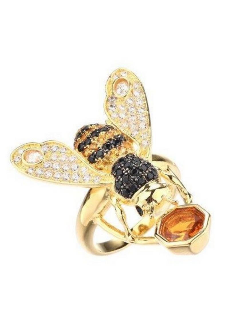 Noir Cubic Zirconia Bee Ring
