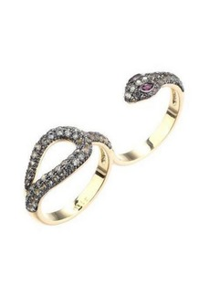Noir Cubic Zirconia Double Finger Snake Ring