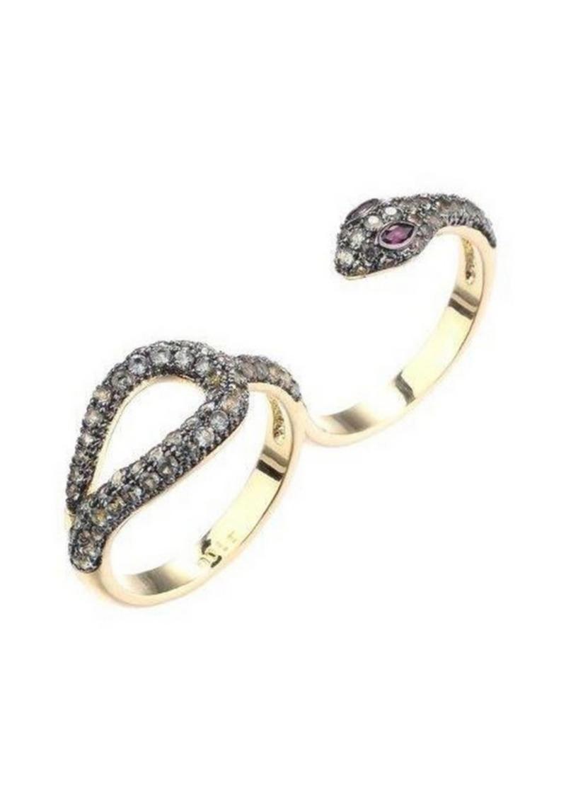 Noir Cubic Zirconia Double Finger Snake Ring