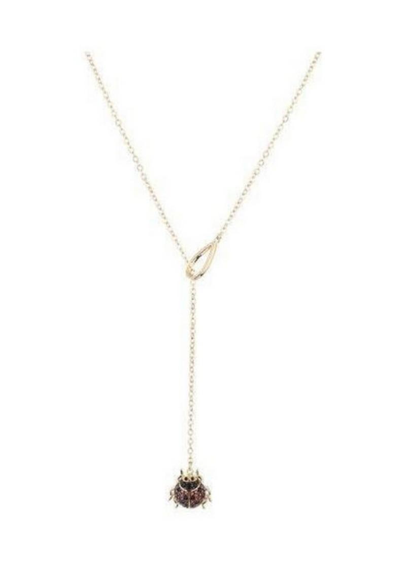 Noir Cubic Zirconia Ladybug Y Necklace