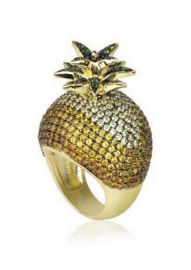 Noir Cubic Zirconia Pineapple Cocktail Ring