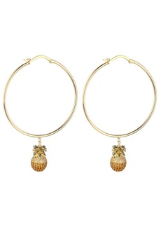 Noir Cubic Zirconia Pineapple Extra Large Hoop Earrings