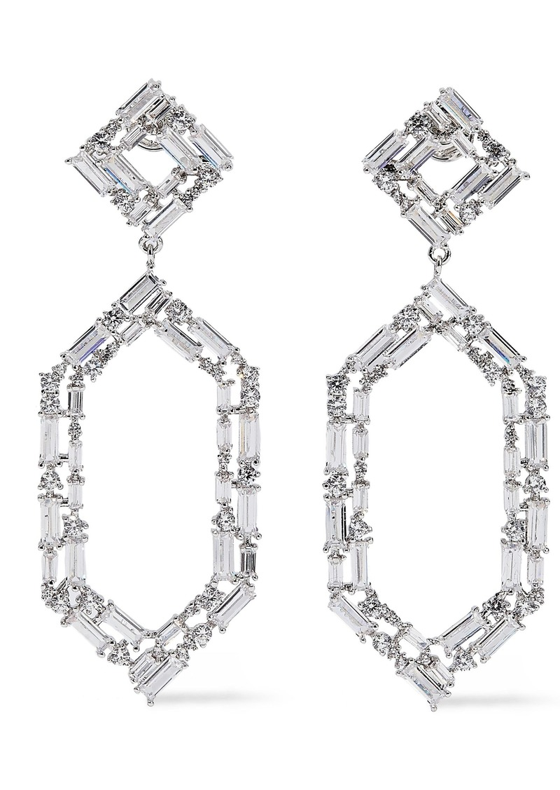Noir Jewelry Woman À Facettes Rhodium-plated Crystal Earrings Silver