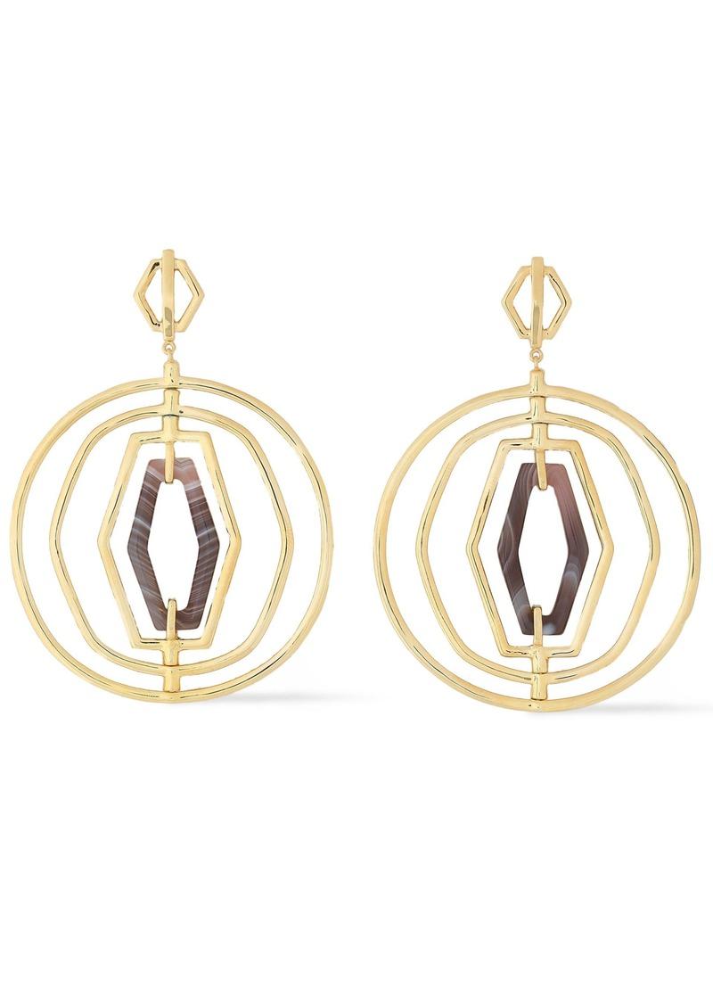 Noir Jewelry Woman 14-karat Gold-plated Agate Earrings Gold