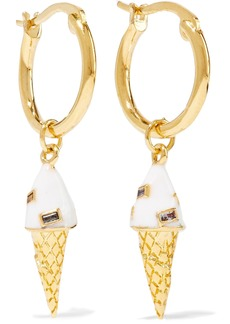 Noir Jewelry Woman 14-karat Gold-plated Crystal And Enamel Hoop Earrings Gold