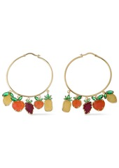Noir Jewelry Woman 14-karat Gold-plated Crystal And Stone Hoop Earrings Gold