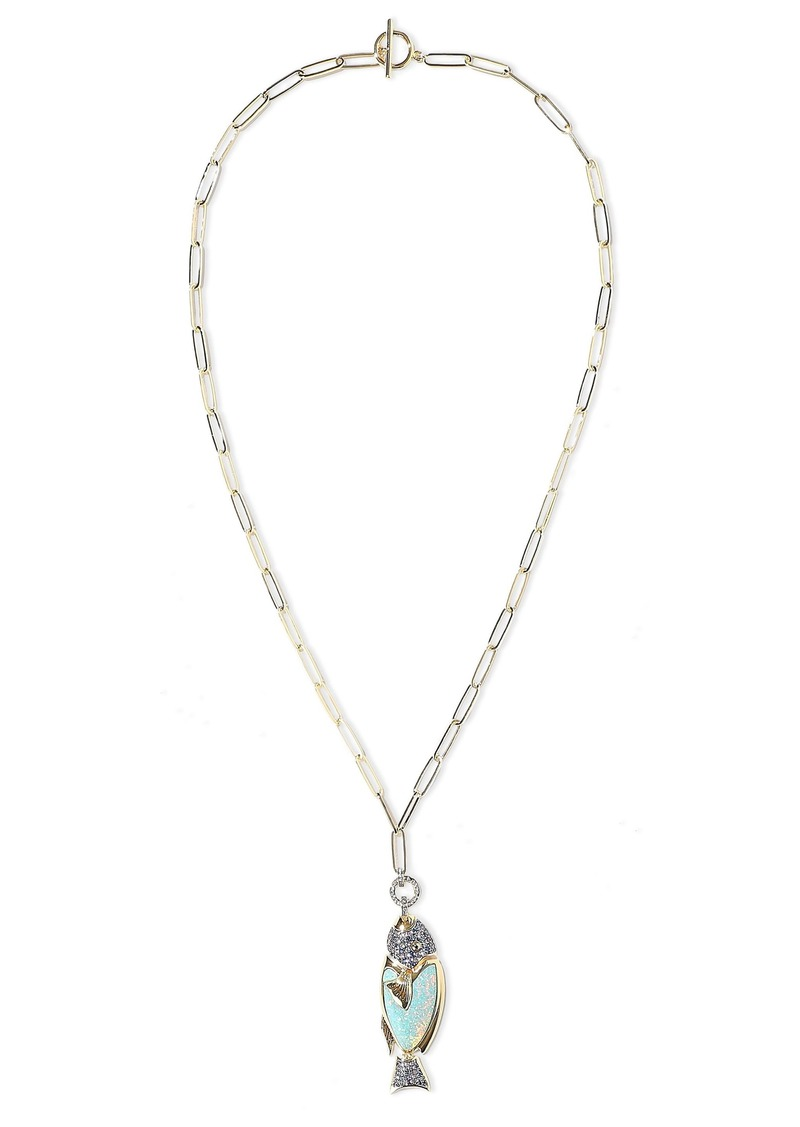 Noir Jewelry Woman 14-karat Gold-plated Crystal And Stone Necklace Gold