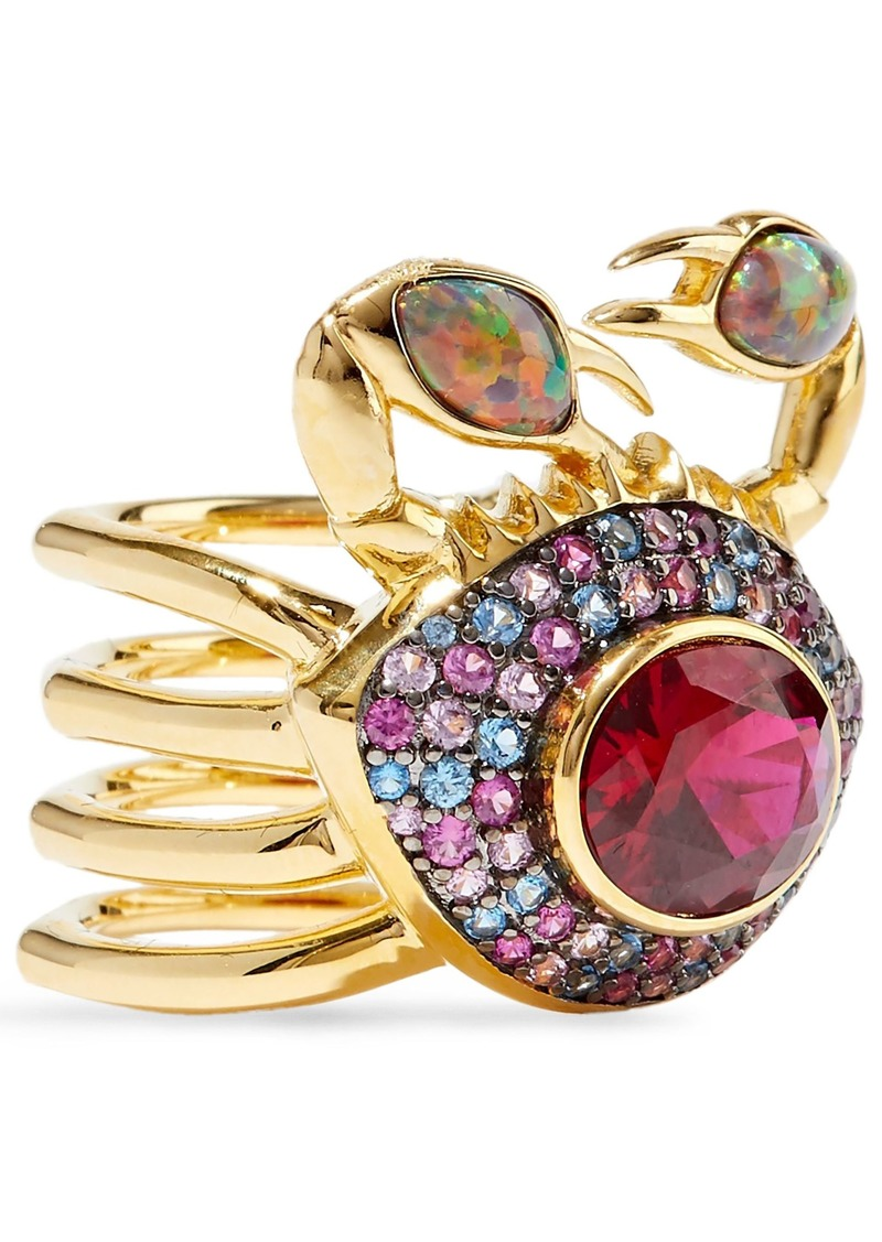 Noir Jewelry Woman 14-karat Gold-plated Crystal And Stone Ring Gold