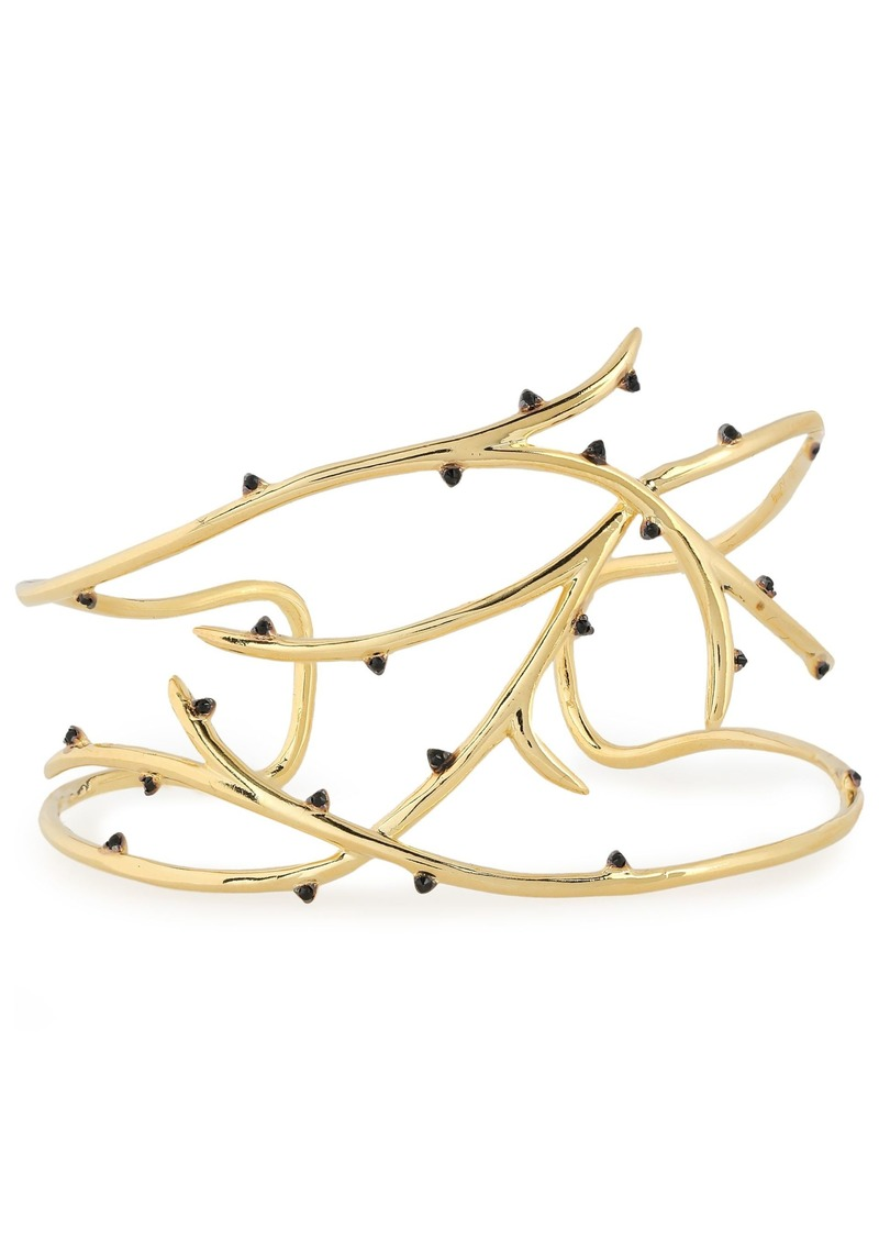 Noir Jewelry Woman 14-karat Gold-plated Crystal Cuff Gold